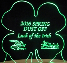 Shamrock Four Leaf Clover 4 St Saint Patricks Day Acrylic Lighted Edge Lit LED Sign / Light Up Plaque Full Size Made in USA