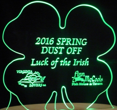 Shamrock Four Leaf Clover 4 St Saint Patricks Day Acrylic Lighted Edge Lit LED Sign / Light Up Plaque