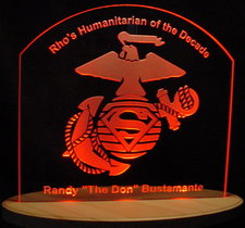 RHO Humanitarian Award Trophy Advertising Logo Acrylic Lighted Edge Lit LED Sign / Light Up Plaque USA Original