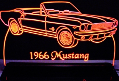 1966 Mustang Convertible Acrylic Lighted Edge Lit LED Sign / Light Up Plaque Full Size USA Original