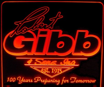 Company Logo Business Advertising Design not for Sale Gibb Acrylic Lighted Edge Lit LED Sign / Light Up Plaque Full Size USA Original