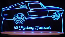 1968 Mustang Fastback Acrylic Lighted Edge Lit LED Sign / Light Up Plaque Full Size USA Original