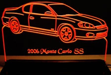 2006 Monte Carlo SS Acrylic Lighted Edge Lit LED Sign / Light Up Plaque Full Size USA Original