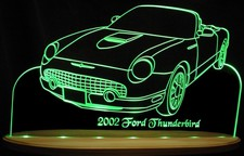 2002 Thunderbird Convertible Tbird Acrylic Lighted Edge Lit LED Sign / Light Up Plaque Full Size USA Original
