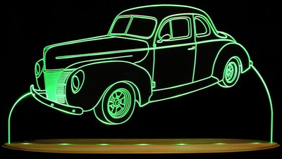 1940 Ford Coupe Acrylic Lighted Edge Lit LED Sign / Light Up Plaque Full Size USA Original