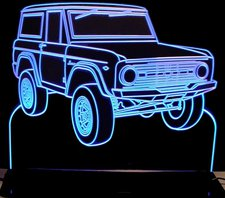 1966 Bronco Acrylic Lighted Edge Lit LED Sign / Light Up Plaque Full Size USA Original