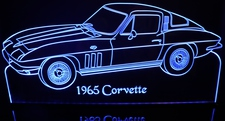 1965 Corvette Acrylic Lighted Edge Lit LED Sign / Light Up Plaque Full Size Made in USA
