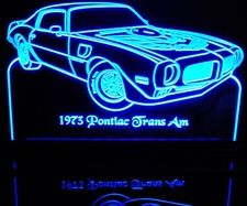 1973 Trans Am with bird Acrylic Lighted Edge Lit LED Sign / Light Up Plaque Full Size Made in USA