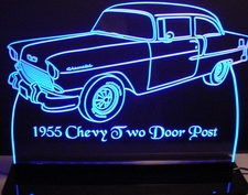 1955 Chevy 2 Door Post Acrylic Lighted Edge Lit LED Sign / Light Up Plaque Full Size USA Original