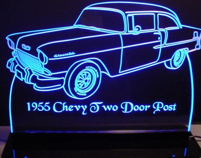 1955 Chevy 2 Door Post Acrylic Lighted Edge Lit LED Sign / Light Up Plaque Full Size Made in USA