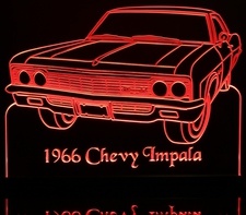 1966 Impala Sedan Acrylic Lighted Edge Lit LED Sign / Light Up Plaque Full Size USA Original