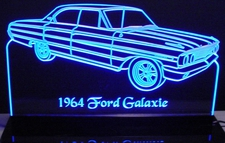 1964 Galaxie 500 Acrylic Lighted Edge Lit LED Sign / Light Up Plaque Full Size USA Original