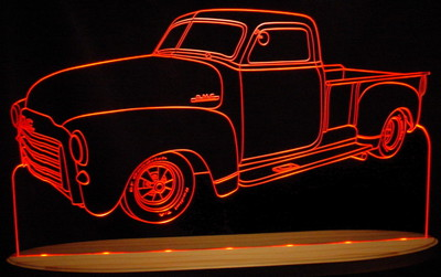 1951 GMC Pickup Truck Acrylic Lighted Edge Lit LED Sign / Light Up Plaque Full Size USA Original