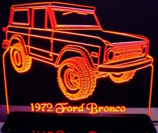 1972 Bronco Acrylic Lighted Edge Lit LED Sign / Light Up Plaque Full Size USA Original