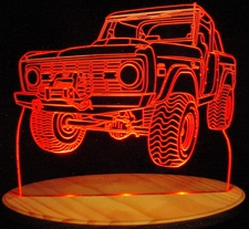 1970s Bronco Acrylic Lighted Edge Lit LED Sign / Light Up Plaque Full Size USA Original