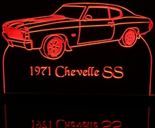 1971 Chevelle SS Acrylic Lighted Edge Lit LED Sign / Light Up Plaque Full Size USA Original