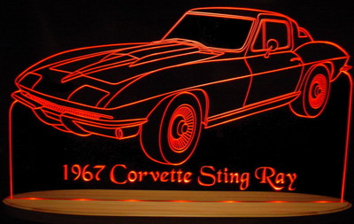 1967 Corvette Stingray Acrylic Lighted Edge Lit LED Sign / Light Up Plaque Full Size USA Original