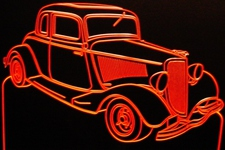 1934 Ford 5 Window Coupe Acrylic Lighted Edge Lit LED Sign / Light Up Plaque Full Size USA Original