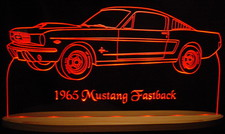 1965 Mustang Fastback Acrylic Lighted Edge Lit LED Sign / Light Up Plaque Full Size USA Original