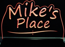 Mikes Mike Place Room Den Office (add your own name) Acrylic Lighted Edge Lit LED Sign / Light Up Plaque Full Size Made in USA