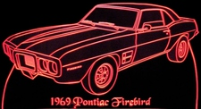 1969 Firebird (no scoops) Acrylic Lighted Edge Lit LED Sign / Light Up Plaque Full Size Made in USA