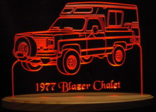 1977 Blazer Chevy Chalet Acrylic Lighted Edge Lit LED Sign / Light Up Plaque Full Size USA Original