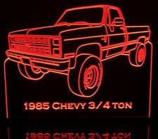 1985 Chevy Pickup 3/4 Ton Acrylic Lighted Edge Lit LED Sign / Light Up Plaque Full Size USA Original