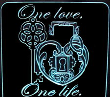 Wedding Anniversary One Love Centerpiece (add your own names on the sides & date above the heart) Acrylic Lighted Edge Lit LED Sign / Light Up Plaque Full Size Made in USA