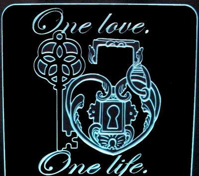 Wedding Anniversary One Love Centerpiece Acrylic Lighted Edge Lit LED Sign / Light Up Plaque