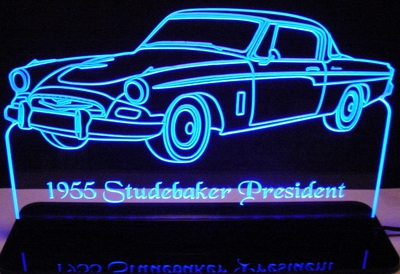 1955 Studebaker President Acrylic Lighted Edge Lit LED Sign / Light Up Plaque Full Size Made in USA