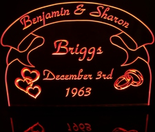 Rings & Hearts with Banner Wedding Anniversary Acrylic Lighted Edge Lit LED Sign / Light Up Plaque Full Size Made in USA