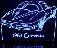 1963 Corvette Rear Acrylic Lighted Edge Lit LED Sign / Light Up Plaque Full Size Made in USA