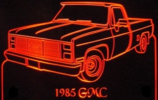 1985 GMC Pickup Truck Acrylic Lighted Edge Lit LED Sign / Light Up Plaque Full Size USA Original