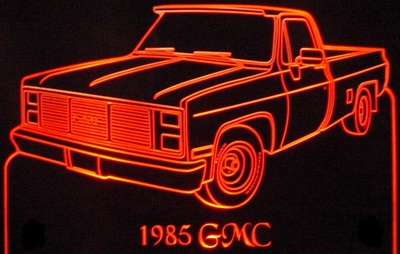 1985 GMC Pickup Truck Acrylic Lighted Edge Lit LED Sign / Light Up Plaque Full Size Made in USA