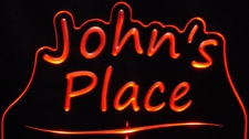 Johns John Place Room Den Office You Name It Acrylic Lighted Edge Lit LED Sign / Light Up Plaque