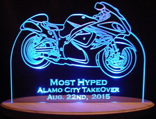 Trophy Award Motorcycle Alamo Bike Sample Only Acrylic Lighted Edge Lit LED Sign / Light Up Plaque Full Size Made in USA Original
