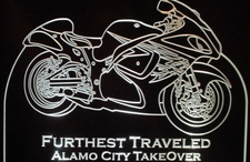 Trophy Award Motorcycle Alamo Bike Acrylic Lighted Edge Lit LED Sign / Light Up Plaque Full Size USA Original