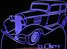 1933 Chevy 2 Door Acrylic Lighted Edge Lit LED Sign / Light Up Plaque Full Size Made in USA