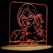 Trophy Award Asian Alison SAMPLE ONLY (NOT FOR SALE) Acrylic Lighted Edge Lit LED Sign / Light Up Plaque Full Size USA Original