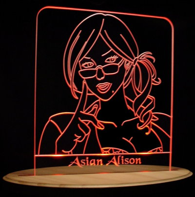 Trophy Award Asian Alison Acrylic Lighted Edge Lit LED Sign / Light Up Plaque Full Size USA Original