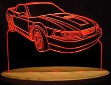 2002 Mustang Acrylic Lighted Edge Lit LED Sign / Light Up Plaque Full Size USA Original