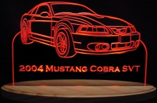 2004 Mustang Cobra SVT Acrylic Lighted Edge Lit LED Sign / Light Up Plaque Full Size USA Original