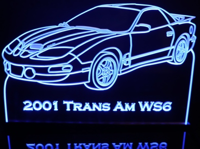 2001 Trans Am WS6 Acrylic Lighted Edge Lit LED Sign / Light Up Plaque Full Size Made in USA