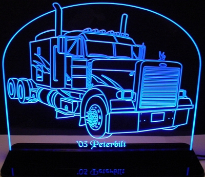 2003 Semi Truck Peterbilt Acrylic Lighted Edge Lit LED Sign / Light Up Plaque Full Size Made in USA