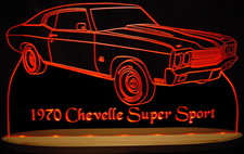 1970 Chevelle SS Acrylic Lighted Edge Lit LED Sign / Light Up Plaque Full Size USA Original