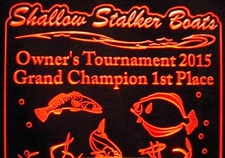 Trophy Award Fish Grand Champion Fishing Tournament Acrylic Lighted Edge Lit LED Sign / Light Up Plaque Full Size USA Original