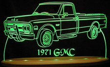 1971 GMC Pickup Truck Acrylic Lighted Edge Lit LED Sign / Light Up Plaque Full Size USA Original