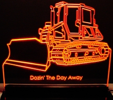 Bull Dozer Trophy Award Advertising Acrylic Lighted Edge Lit LED Sign / Light Up Plaque Full Size Made in USA