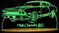 1968 Chevelle SS Acrylic Lighted Edge Lit LED Sign / Light Up Plaque Full Size USA Original