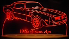 "1976 Trans Am Acrylic Lighted Edge Lit LED Sign Awesome 21"" Light Up Plaque Full Size USA Original"